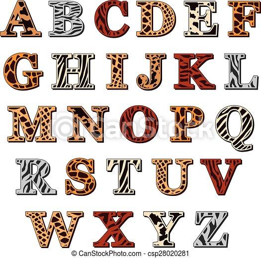 印刷, アルファベット, ラテン語, 動物 - ... 資本, 手紙, の, ∥, ラテン語,