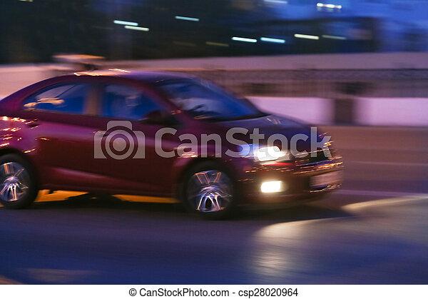 cars go on the night city