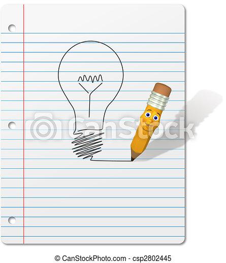 3d pencil cartoon character drawing an idea symbol light bulb on a