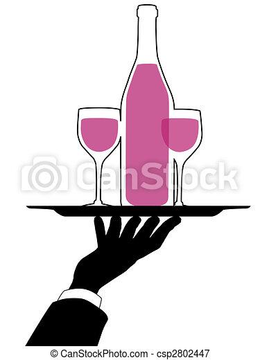 Waiter Hand Holds Wine Tray silhouette - csp2802447