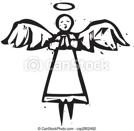 Tall Angel Woodcut - csp2802492