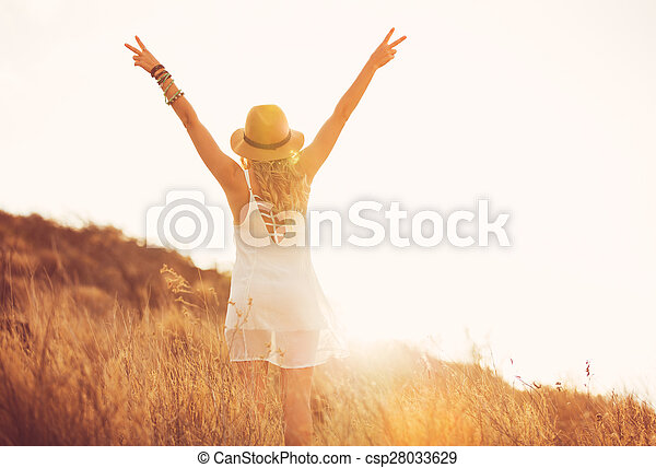 Happy Young Woman Outdoors at Susnet. Fashion Lifestyle. - csp28033629