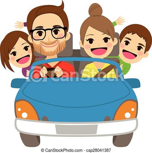 Happy Family Traveling Car - csp28041387