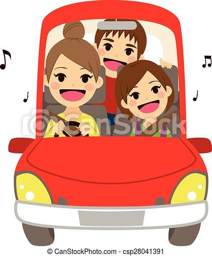 Mom Driving Kids School Singing - csp28041391