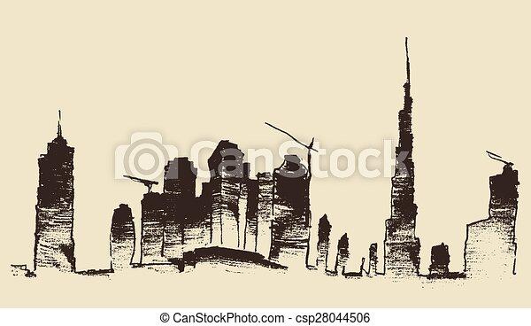 Dubai City Skyline Hand Drawn, Engraved Vector - csp28044506