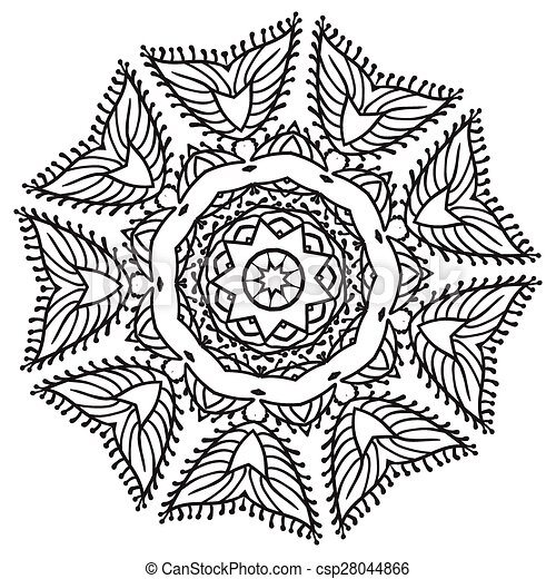 Hand Tekening Zentangle Mandala Element 28044866