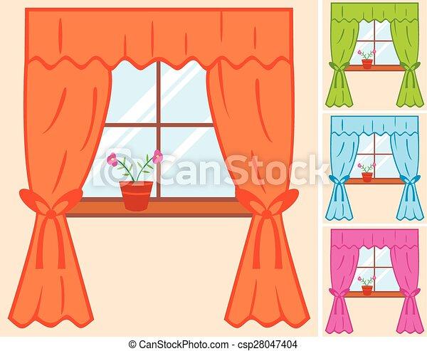 Vector clip art de cortina ventana flor ventana con - Dibujos para cortinas ...