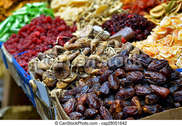 Dried fruits on display in food marke - csp28051642