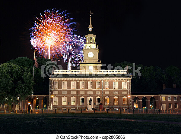 Independence Hall Fireworks - csp2805866