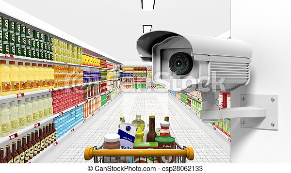 Security surveillance camera with supermarket interior as background - csp28062133