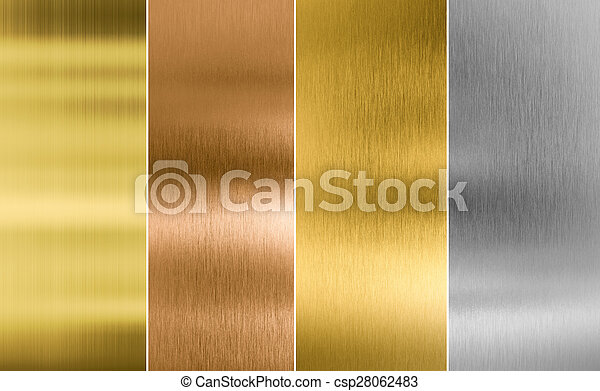 Stitched silver, gold and bronze metal texture backgrounds
