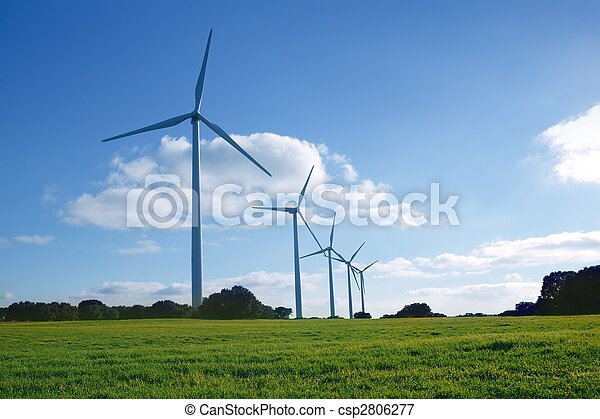 Ecological electric energy windmills in meadow - csp2806277