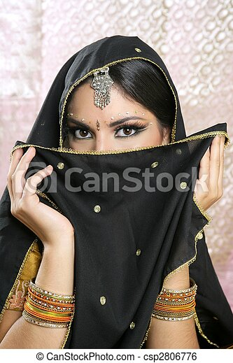 bonito, morena, rosto, pretas, Asiático, menina, véu - csp2806776