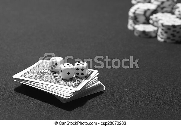 Poker cards and craps with betting chips table game