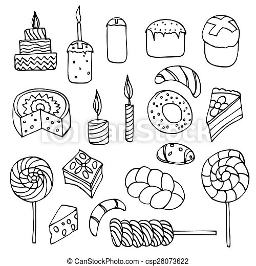 Set of sweets, hand-drawn, vector Doodle - csp28073622