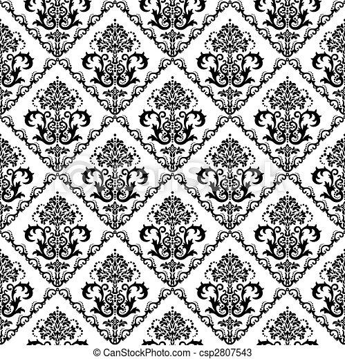 Vecteurs de seamless noir blanc floral papier peint seamless csp2807543 recherchez - Papier peint graphique noir et blanc ...