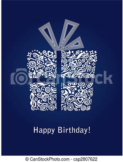 Blue Happy Birthday card - csp2807622