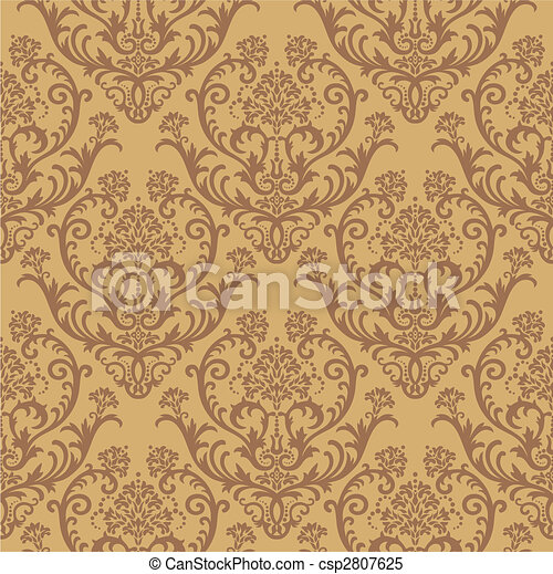 Brown floral wallpaper - csp2807625