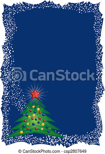 Christmas tree frame on blue background - csp2807649