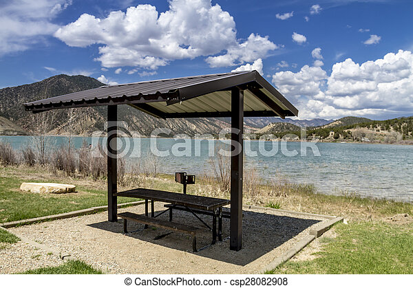 Picnic Area and Bench on Lake