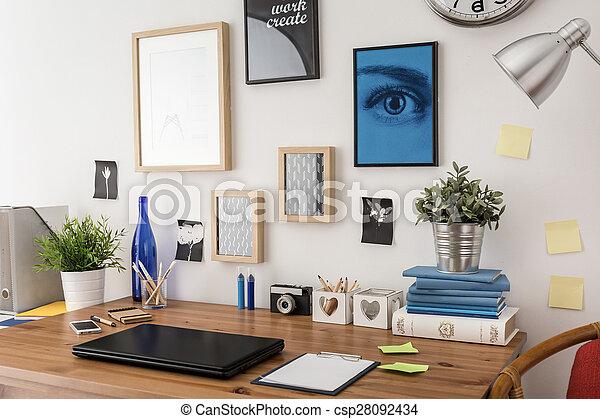 Stylish desk in office