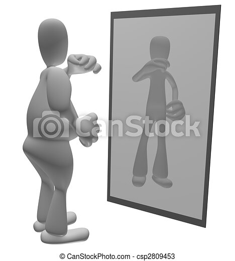 Fat person looking in mirror - csp2809453
