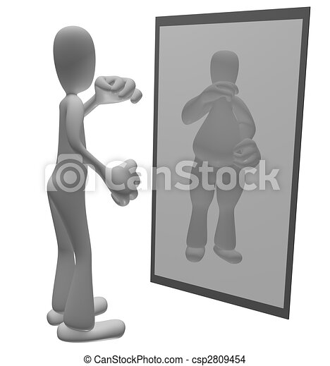 Fat person looking in mirror - csp2809454