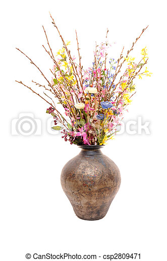 Huge pot with fake flowers - csp2809471
