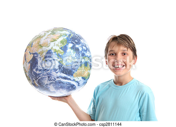 Smiling boy with world in palm of his hands - csp2811144