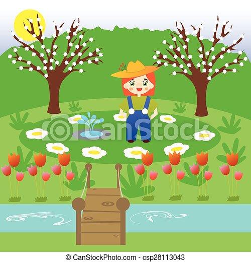 Flower Garden Drawing eps vector of little gardener in a flower garden - little gardener