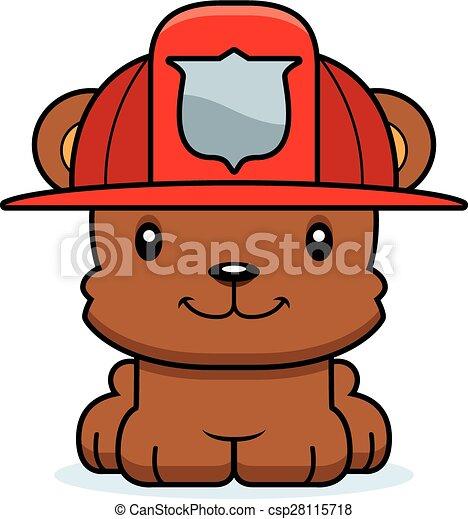 clip art vecteur de sourire pompier dessin anim ours a dessin anim csp28115718. Black Bedroom Furniture Sets. Home Design Ideas