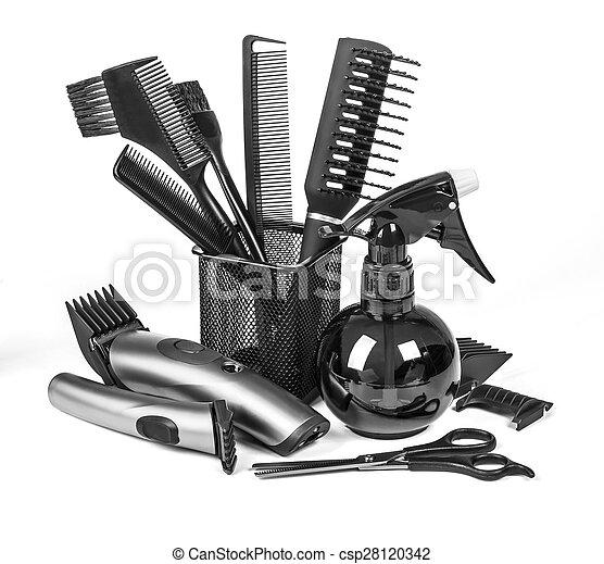 Stock foto van gereedschap kapper professioneel kapper gereedschap csp28120342 zoek - Witte kapper ...