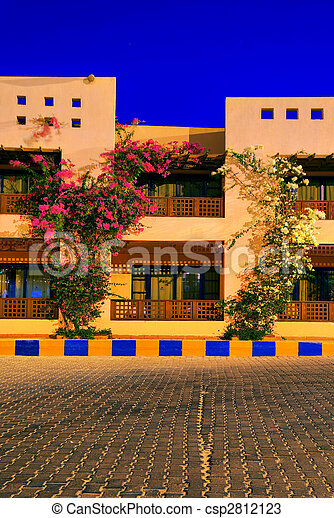 night hdr photo from egypt resort. saturated mystic colors. - csp2812123