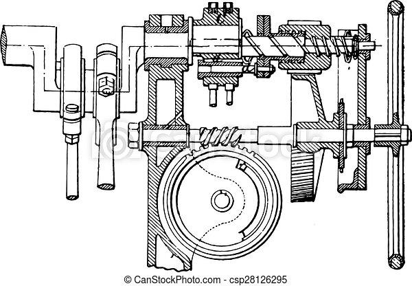 eps vectors of farcot servo winch vintage engraving