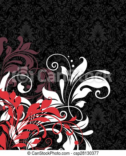 Vintage invitation card with ornate elegant abstract floral design - csp28130377