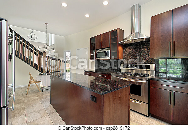 Kitchen with wood cabinetry - csp2813172