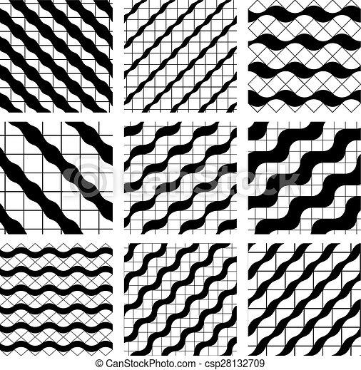 Clipart vecteur de ensemble de grille seamless motifs - Carrelage motif geometrique ...