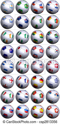 Soccer balls with all flags of South Africa World Cup competitors - csp2813356