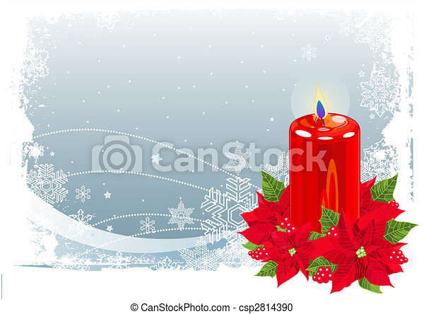Red Christmas Candle - csp2814390