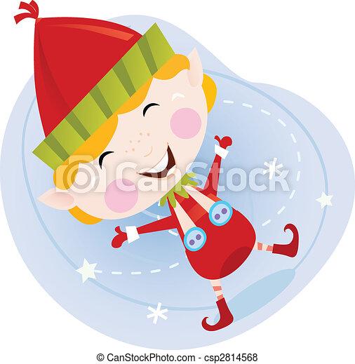 Santa christmas elf in red costume - csp2814568