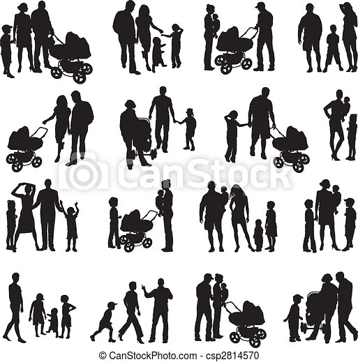 Set of family silhouetted (vectors)  - csp2814570