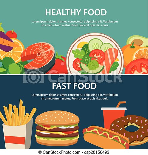 Eps Vectors Of Healthy Food And Fast Food Concept Banner