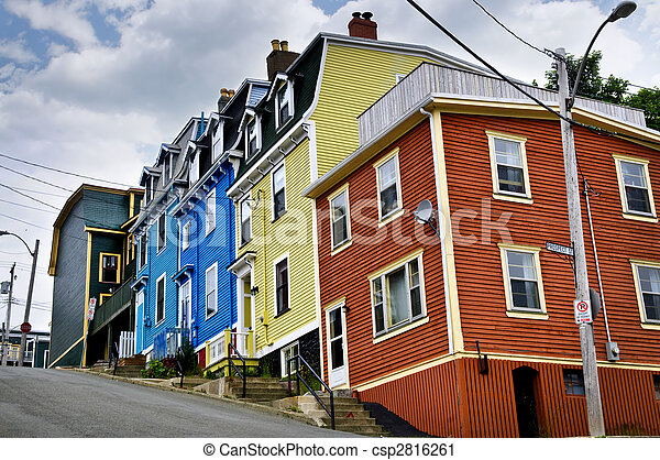 Colorful houses in St. John's - csp2816261