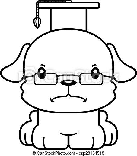 Vector Clip Art of Cartoon Angry Teacher Puppy - A cartoon teacher ...