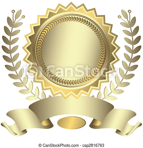 Silvery award with ribbon (vector) - csp2816763