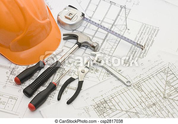 byggnad, Hus, redskapen, projekt - csp2817038