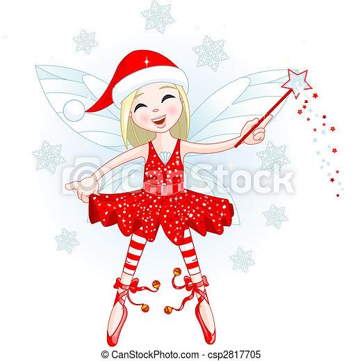 Vecteur clipart de peu no l f e cute christmas f e voler all csp2817705 - Dessin de mere noel ...