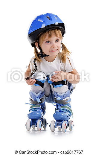 Cute girl in roller skates - csp2817767