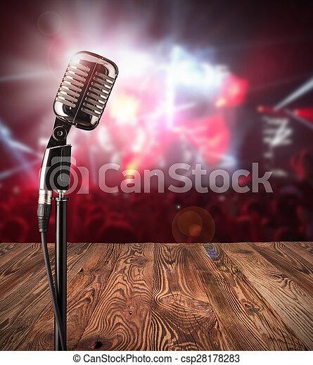 Retro microphone on music concert