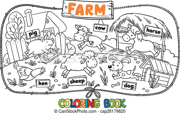 Vector Illustration of Great coloring book with farm animals ...
